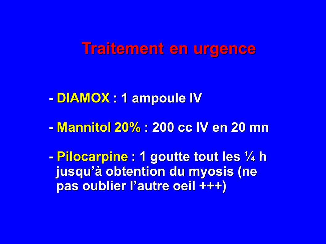 Traitement en urgence - DIAMOX : 1 ampoule IV - DIAMOX : 1 ampoule IV - Mannitol 20% : 200 cc IV en 20 mn - Mannitol 20% : 200 cc IV en 20 mn - Piloca