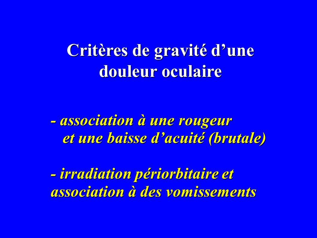 Critères de gravité dune douleur oculaire - association à une rougeur et une baisse dacuité (brutale) et une baisse dacuité (brutale) - irradiation pé