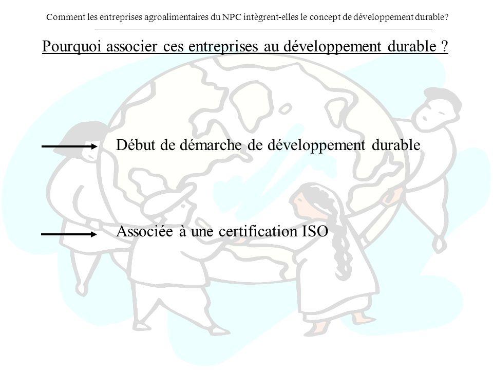 Pourquoi associer ces entreprises au développement durable ? Début de démarche de développement durable Associée à une certification ISO