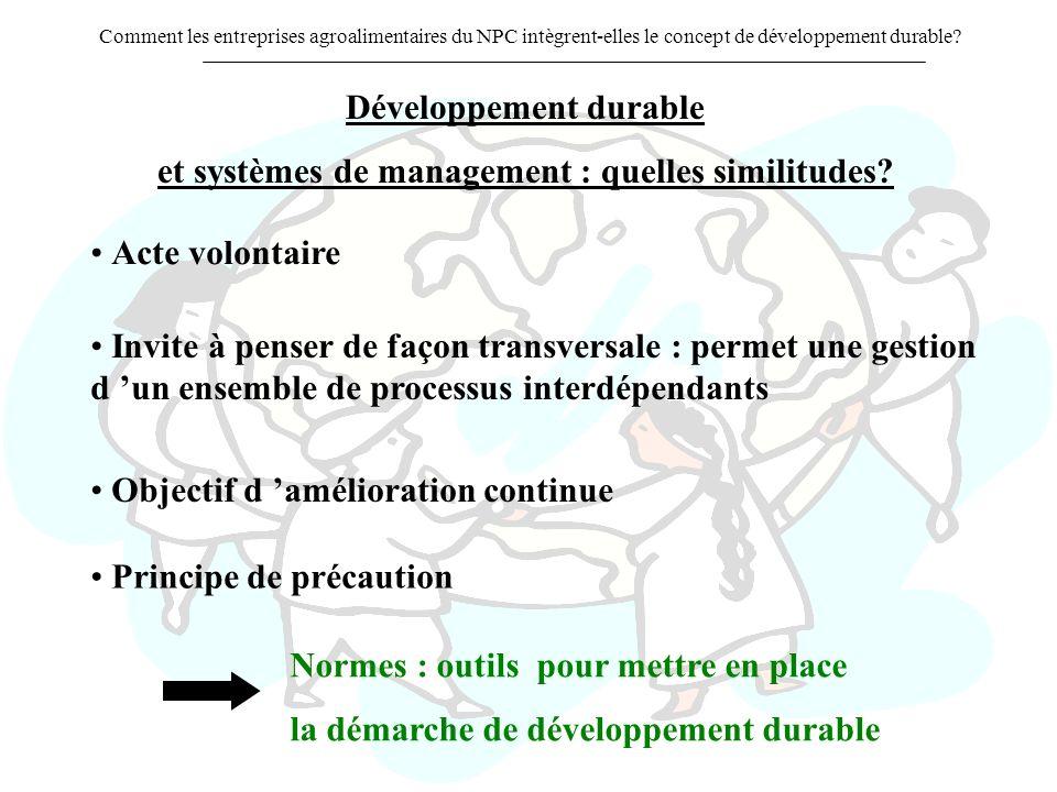 Comment les entreprises agroalimentaires du NPC intègrent-elles le concept de développement durable? Développement durable et systèmes de management :
