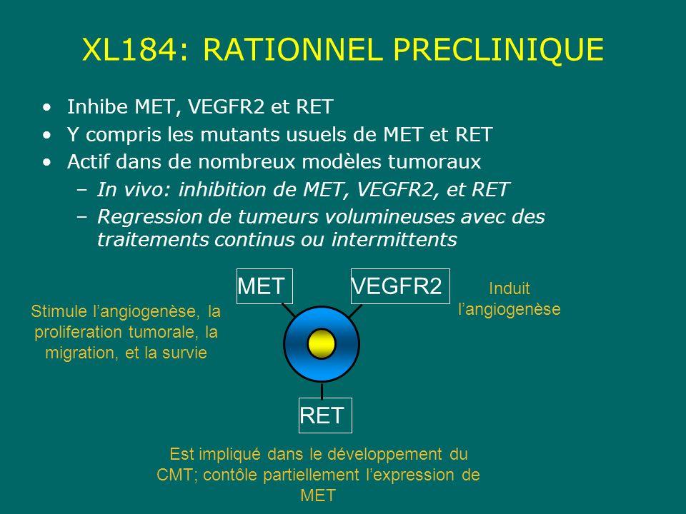 XL184: RATIONNEL PRECLINIQUE Inhibe MET, VEGFR2 et RET Y compris les mutants usuels de MET et RET Actif dans de nombreux modèles tumoraux –In vivo: inhibition de MET, VEGFR2, et RET –Regression de tumeurs volumineuses avec des traitements continus ou intermittents RET VEGFR2MET Stimule langiogenèse, la proliferation tumorale, la migration, et la survie Induit langiogenèse Est impliqué dans le développement du CMT; contôle partiellement lexpression de MET