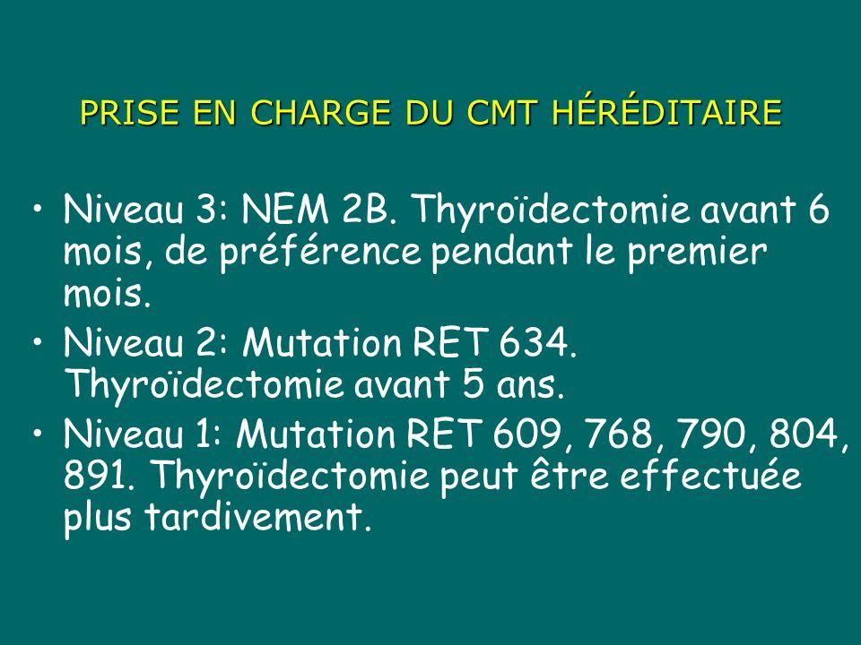 PRISE EN CHARGE DU CMT HÉRÉDITAIRE Niveau 3: NEM 2B. Thyroïdectomie avant 6 mois, de préférence pendant le premier mois. Niveau 2: Mutation RET 634. T