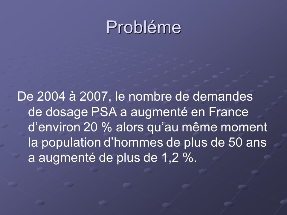 Probléme De 2004 à 2007, le nombre de demandes de dosage PSA a augmenté en France denviron 20 % alors quau même moment la population dhommes de plus d