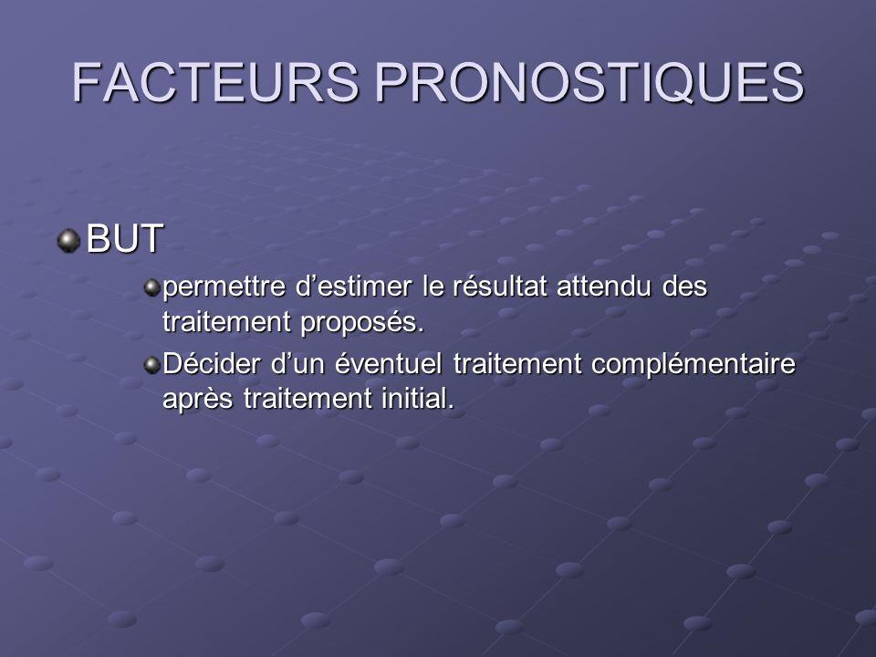 FACTEURS PRONOSTIQUES BUT permettre destimer le résultat attendu des traitement proposés. Décider dun éventuel traitement complémentaire après traitem