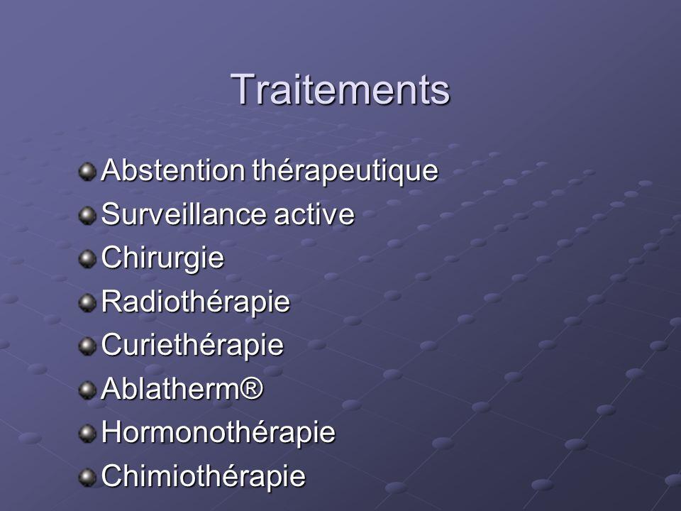 Traitements Abstention thérapeutique Surveillance active ChirurgieRadiothérapieCuriethérapieAblatherm®HormonothérapieChimiothérapie