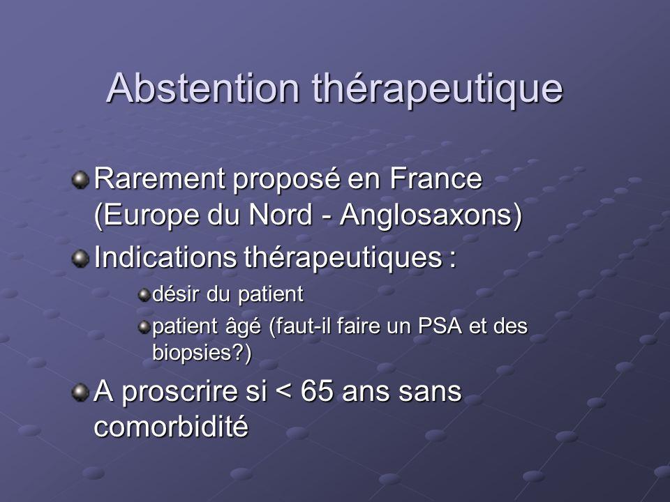 Abstention thérapeutique Rarement proposé en France (Europe du Nord - Anglosaxons) Indications thérapeutiques : désir du patient patient âgé (faut-il