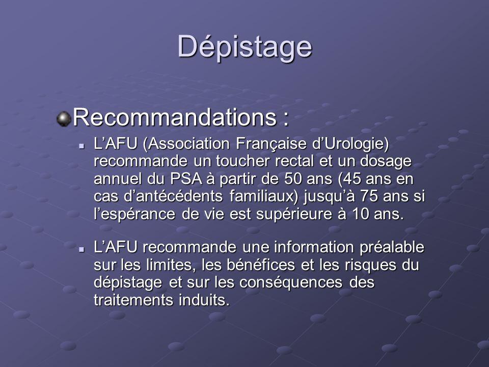 Dépistage Recommandations : LAFU (Association Française dUrologie) recommande un toucher rectal et un dosage annuel du PSA à partir de 50 ans (45 ans
