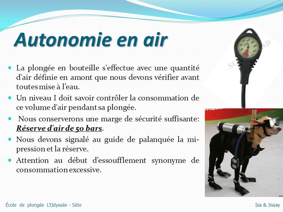 Autonomie en air La plongée en bouteille s effectue avec une quantité d air définie en amont que nous devons vérifier avant toutes mise à leau.