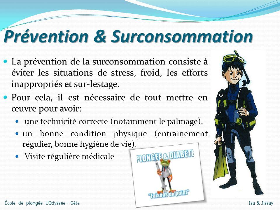 Prévention & Surconsommation La prévention de la surconsommation consiste à éviter les situations de stress, froid, les efforts inappropriés et sur-lestage.