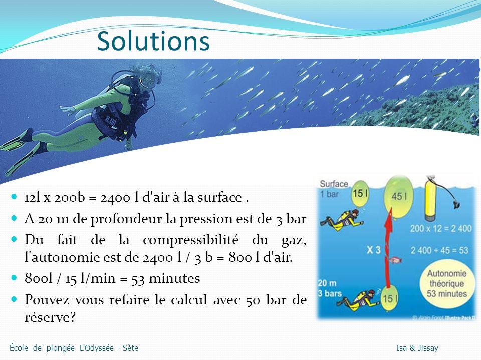 Solutions 12l x 200b = 2400 l d air à la surface.
