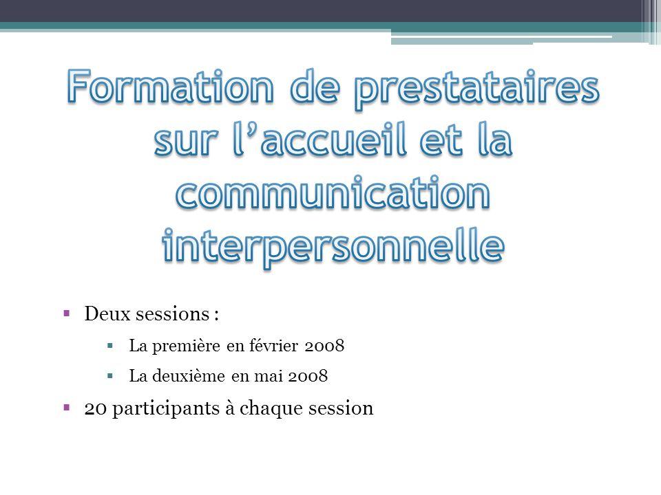 Deux sessions : La première en février 2008 La deuxième en mai 2008 20 participants à chaque session