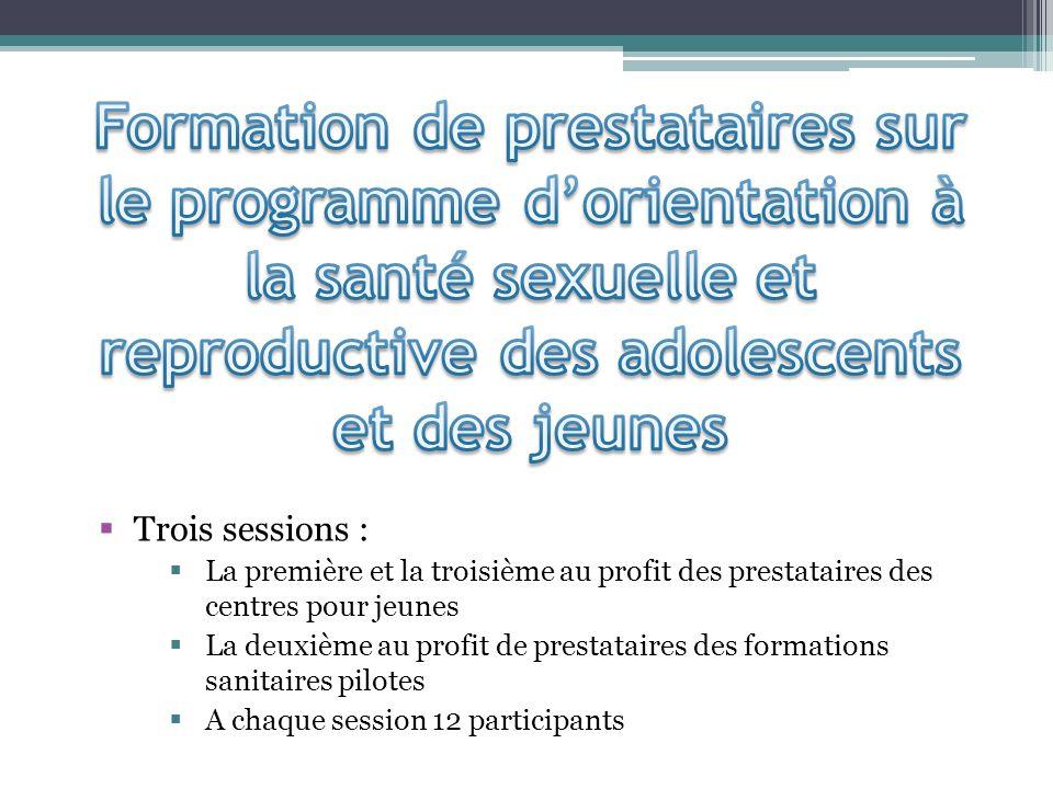 Trois sessions : La première et la troisième au profit des prestataires des centres pour jeunes La deuxième au profit de prestataires des formations s
