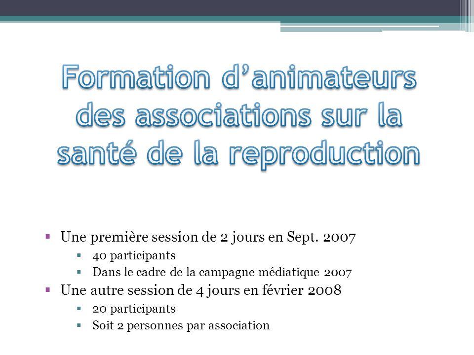 Une première session de 2 jours en Sept. 2007 40 participants Dans le cadre de la campagne médiatique 2007 Une autre session de 4 jours en février 200