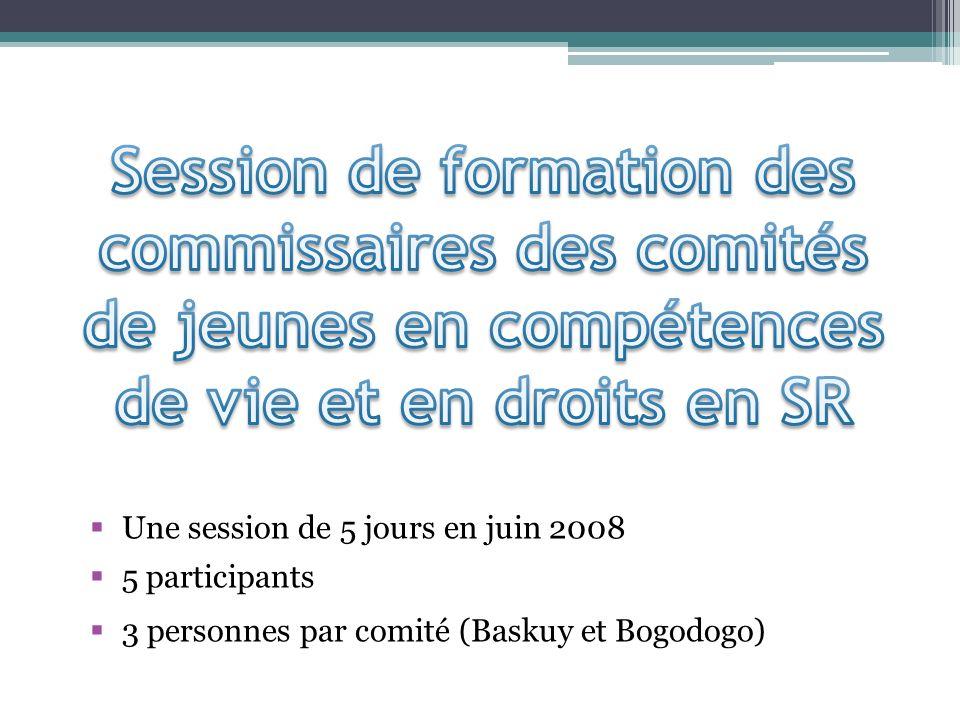 Une session de 5 jours en juin 2008 5 participants 3 personnes par comité (Baskuy et Bogodogo)