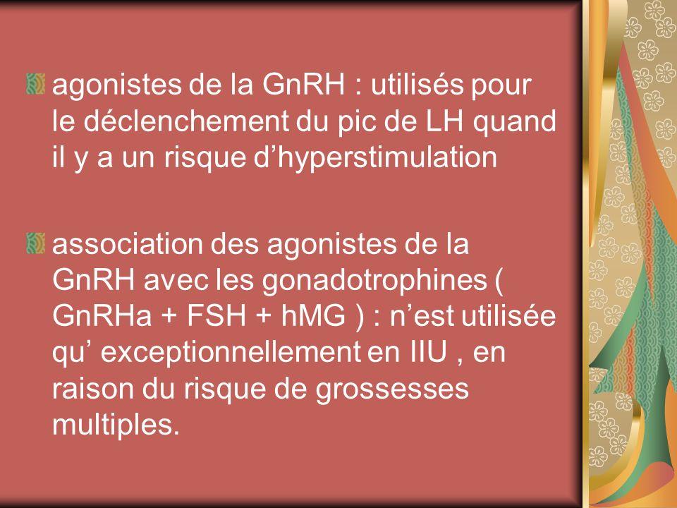 agonistes de la GnRH : utilisés pour le déclenchement du pic de LH quand il y a un risque dhyperstimulation association des agonistes de la GnRH avec