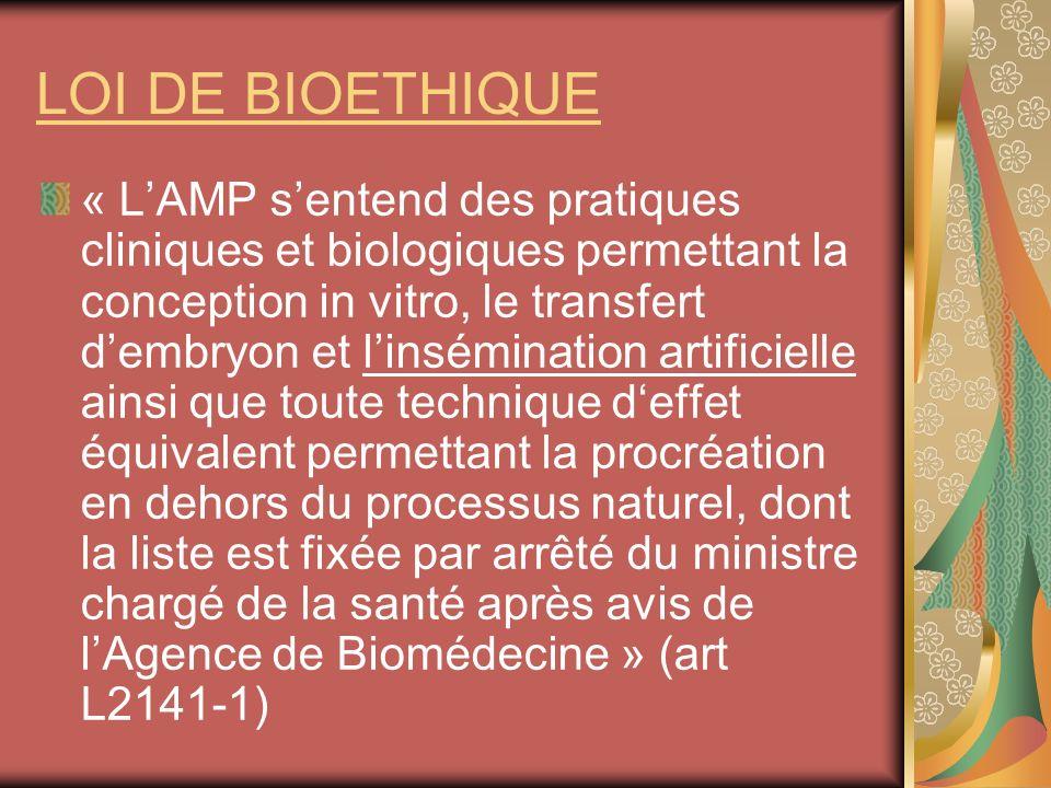 LOI DE BIOETHIQUE « LAMP sentend des pratiques cliniques et biologiques permettant la conception in vitro, le transfert dembryon et linsémination arti