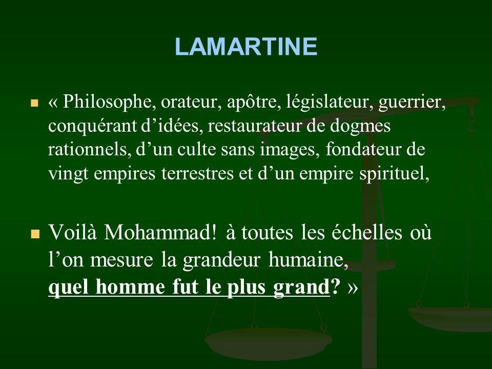 LAMARTINE « Sa patience dans la victoire, son ambition toute didées, nullement dempire, sa prière sans fin, son triomphe après le tombeau attestent pl