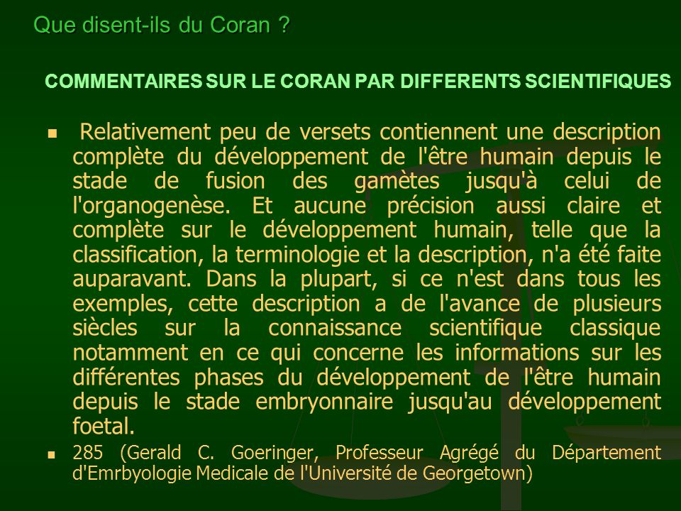 COMMENTAIRES SUR LE CORAN PAR DIFFERENTS SCIENTIFIQUES...