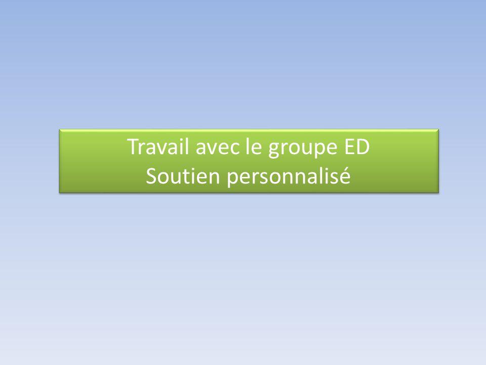 Travail avec le groupe ED Soutien personnalisé Travail avec le groupe ED Soutien personnalisé