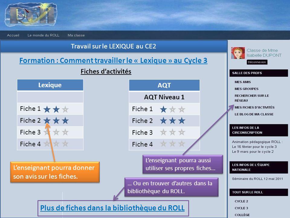 Travail sur le LEXIQUE au CE2 Formation : Comment travailler le « Lexique » au Cycle 3 Fiches dactivités Lexique Fiche 1 Fiche 2 Fiche 3 Fiche 4 AQT A