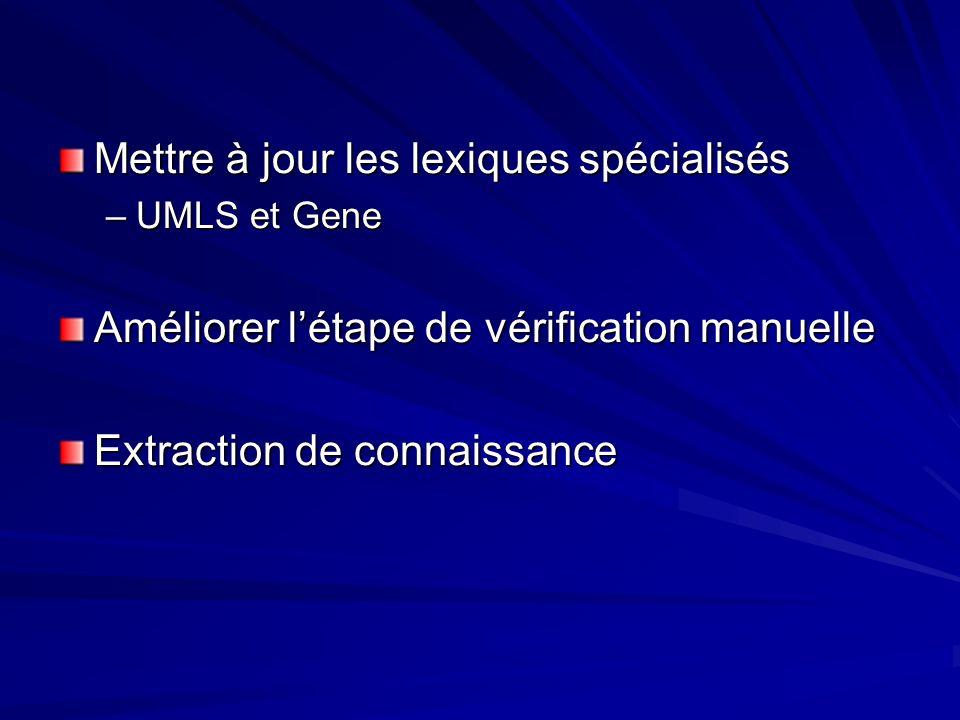 Mettre à jour les lexiques spécialisés –UMLS et Gene Améliorer létape de vérification manuelle Extraction de connaissance