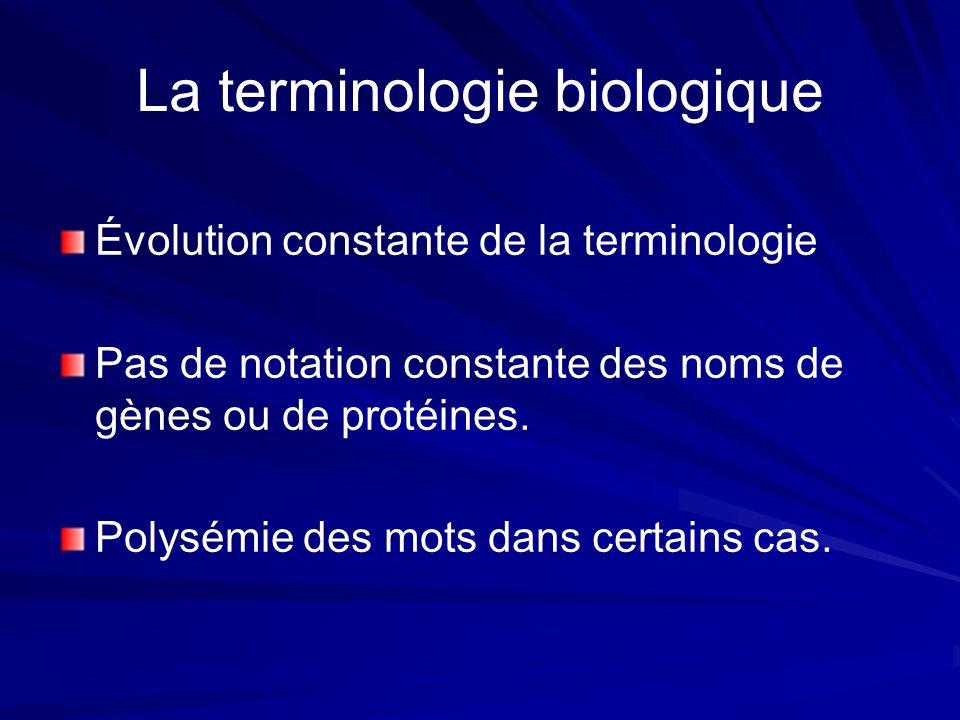 Ressources biologiques (1) UMLS ( Unified Medical Language System ) Grande source de connaissance biomédicale découpée en 3 parties : le Métathesaurus le Métathesaurus le réseau sémantique le réseau sémantique un lexique médical Specialist Lexicon un lexique médical Specialist Lexicon
