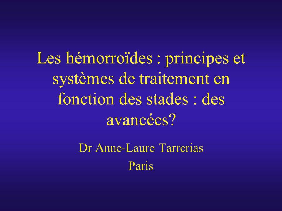 Les hémorroïdes : principes et systèmes de traitement en fonction des stades : des avancées? Dr Anne-Laure Tarrerias Paris