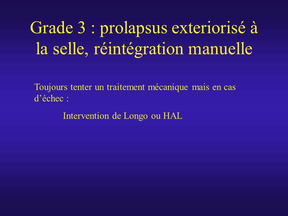 Grade 3 : prolapsus exteriorisé à la selle, réintégration manuelle Toujours tenter un traitement mécanique mais en cas déchec : Intervention de Longo