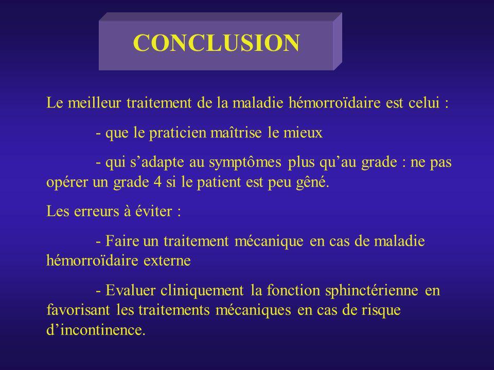 Le meilleur traitement de la maladie hémorroïdaire est celui : - que le praticien maîtrise le mieux - qui sadapte au symptômes plus quau grade : ne pa