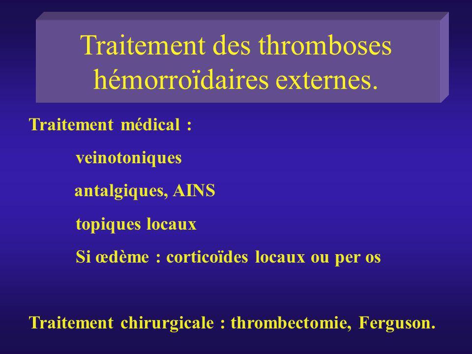 Traitement des thromboses hémorroïdaires externes. Traitement médical : veinotoniques antalgiques, AINS topiques locaux Si œdème : corticoïdes locaux