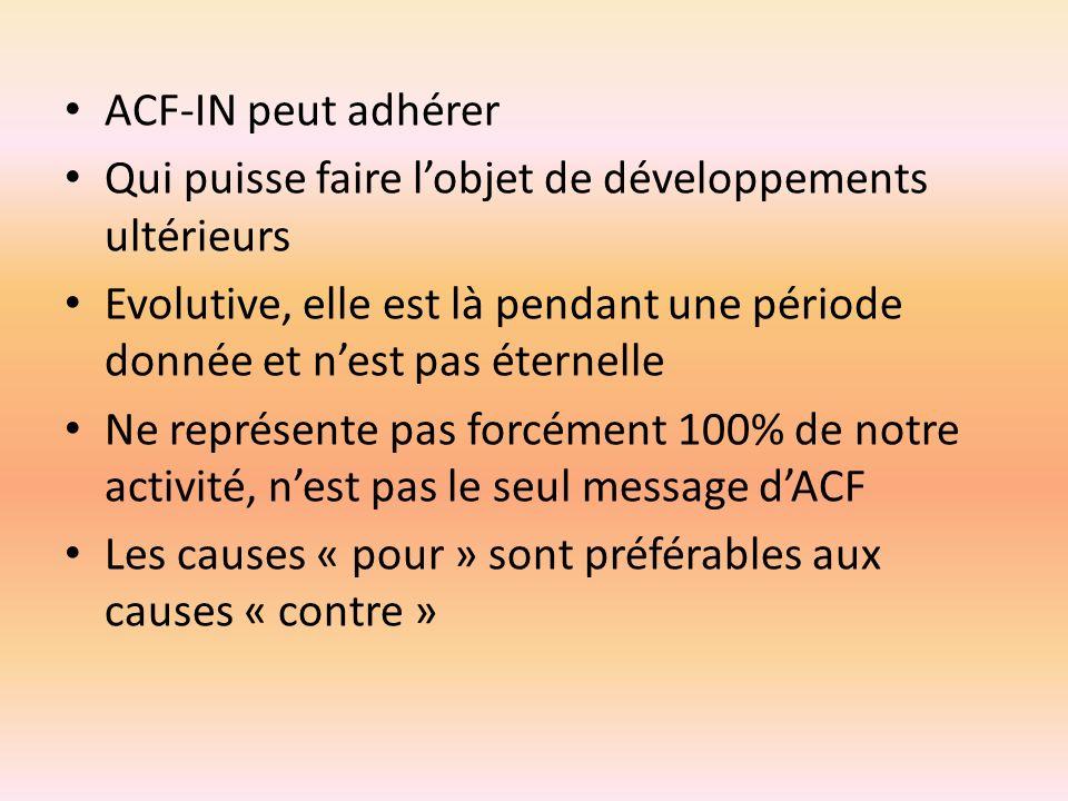 ACF-IN peut adhérer Qui puisse faire lobjet de développements ultérieurs Evolutive, elle est là pendant une période donnée et nest pas éternelle Ne re