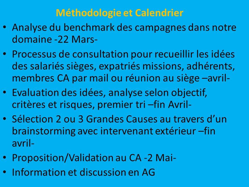 Méthodologie et Calendrier Analyse du benchmark des campagnes dans notre domaine -22 Mars- Processus de consultation pour recueillir les idées des sal