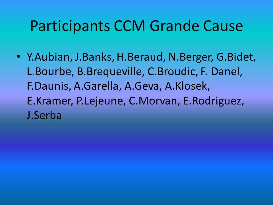 Participants CCM Grande Cause Y.Aubian, J.Banks, H.Beraud, N.Berger, G.Bidet, L.Bourbe, B.Brequeville, C.Broudic, F. Danel, F.Daunis, A.Garella, A.Gev