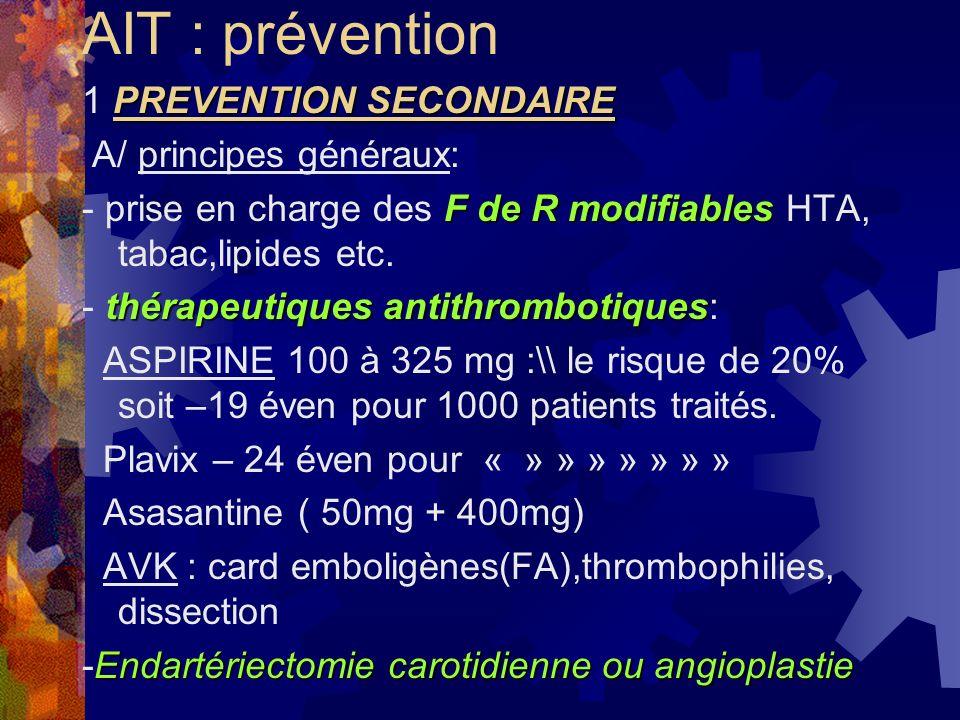 AIT : prévention PREVENTION SECONDAIRE 1 PREVENTION SECONDAIRE A/ principes généraux: F de R modifiables - prise en charge des F de R modifiables HTA,