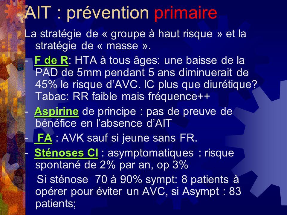 AIT : prévention primaire La stratégie de « groupe à haut risque » et la stratégie de « masse ». F de R - F de R: HTA à tous âges: une baisse de la PA