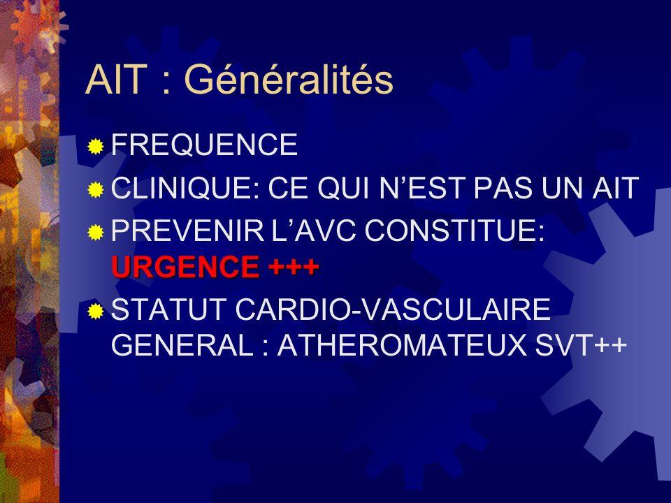 Facteurs de risque dAIT Ceux des cardiopathies ischémiques mais lordre dimportance est différent: 1 HTA RR=4 hta chronique pour la ½ des avc 2 tabac RR=2 carotides ++ 3 cholestérol RR=1,5 hypo---) Hies.