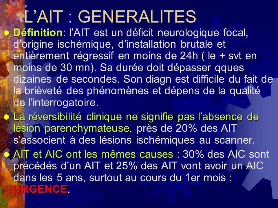 Bilan et causes des AIT Dans tous les cas Dans tous les cas: - biologie de base: NFS,plaq, iono, glycémie et lipides - ECG - Écho-doppler TSA - ETT Et selon les cas Et selon les cas: - doppler transcranien, - ARM intracrânien et cervical - ETO (auricule G,SIA, crosse aorte) - Hémostase complète (thrombophilie: déficit en protéineS,C,A III).