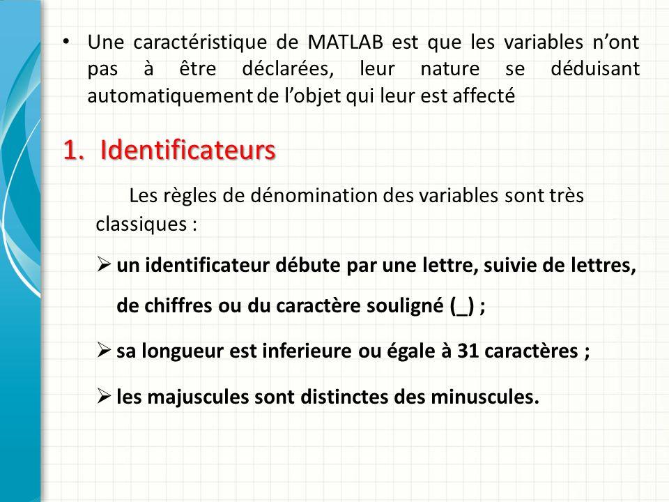 Une caractéristique de MATLAB est que les variables nont pas à être déclarées, leur nature se déduisant automatiquement de lobjet qui leur est affecté