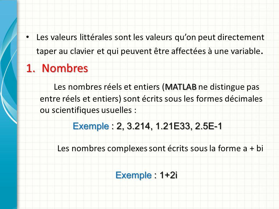 2.Tableaux de nombres Les tableaux de nombres réels ou complexes de dimension un ou deux suivent la syntaxe suivante : un tableau est délimité par des crochets ; les éléments sont entrés ligne par ligne ; les éléments appartenant à la même ligne sont séparés par des espaces (ou par des virgules) ; doivent comporter le même nombre déléments les différentes lignes doivent comporter le même nombre déléments et sont séparées par des points-virgules.