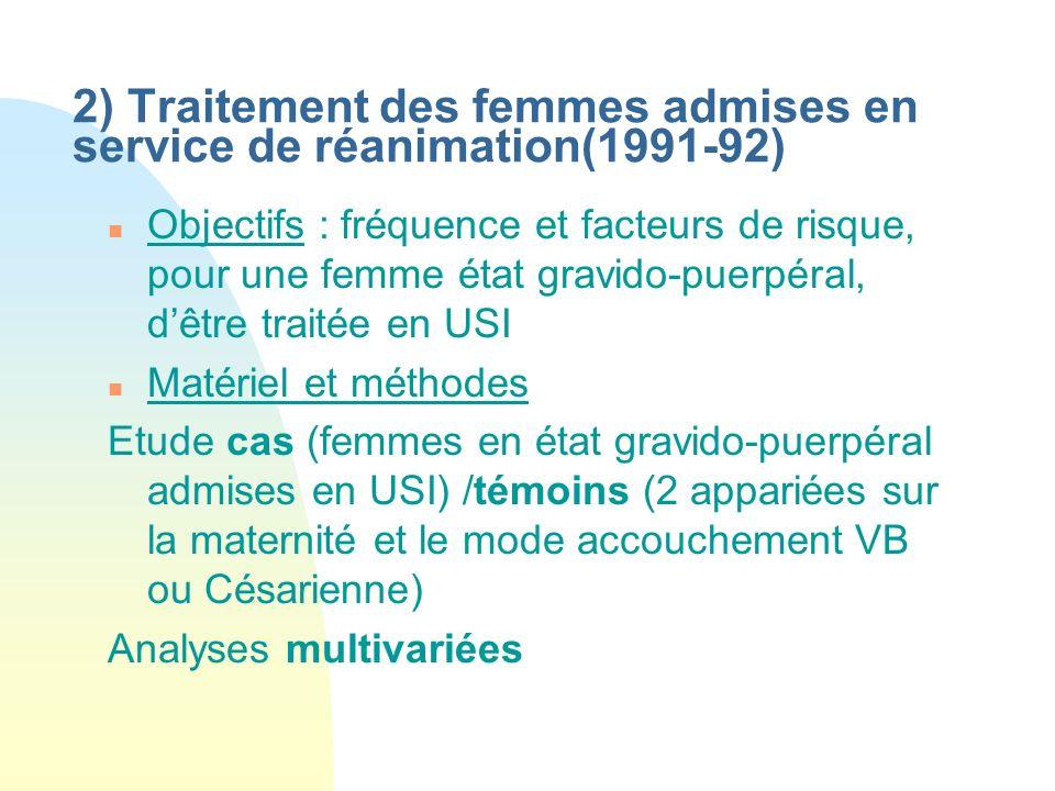 2) Traitement des femmes admises en service de réanimation(1991-92) n Objectifs : fréquence et facteurs de risque, pour une femme état gravido-puerpér