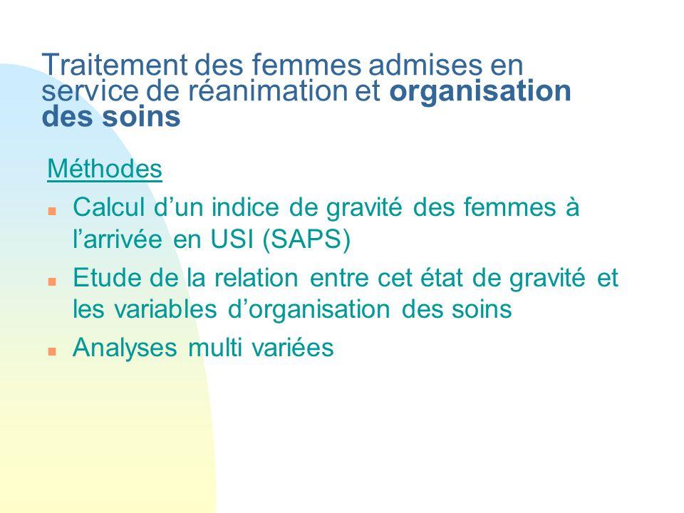 Traitement des femmes admises en service de réanimation et organisation des soins Méthodes n Calcul dun indice de gravité des femmes à larrivée en USI