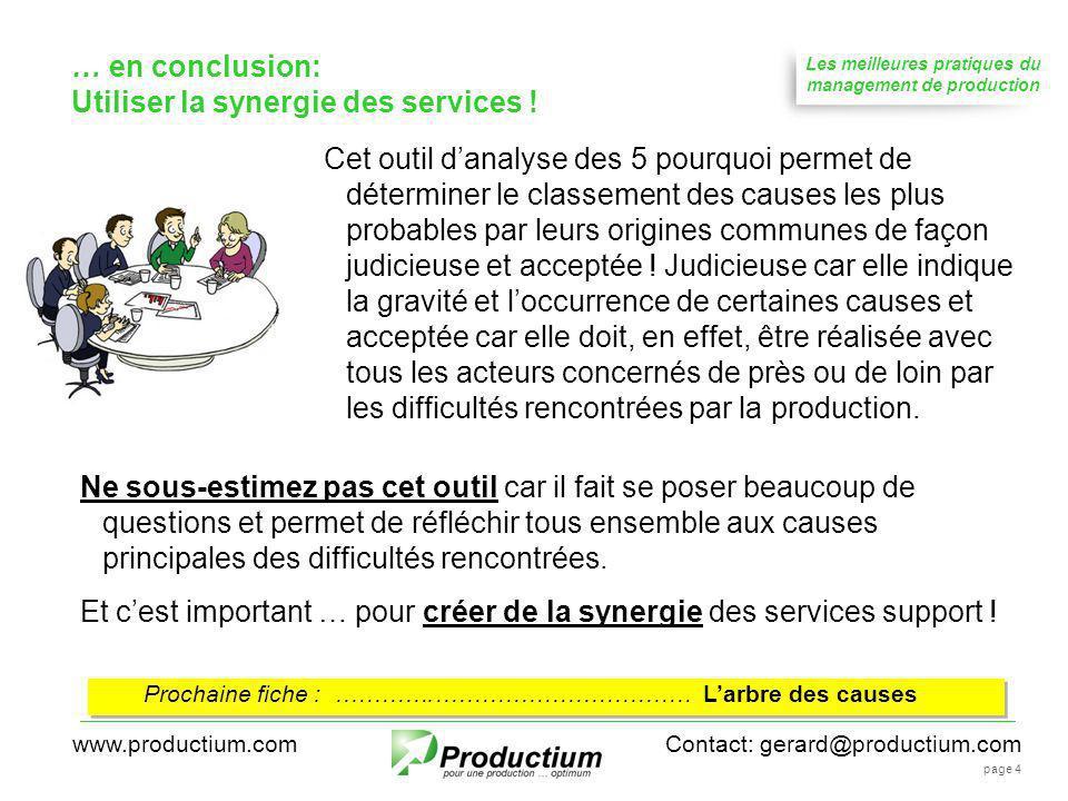 Les meilleures pratiques du management de production Contact: gerard@productium.comwww.productium.com page 4 Prochaine fiche : ………….…………………………… Larbre des causes … en conclusion: Utiliser la synergie des services .