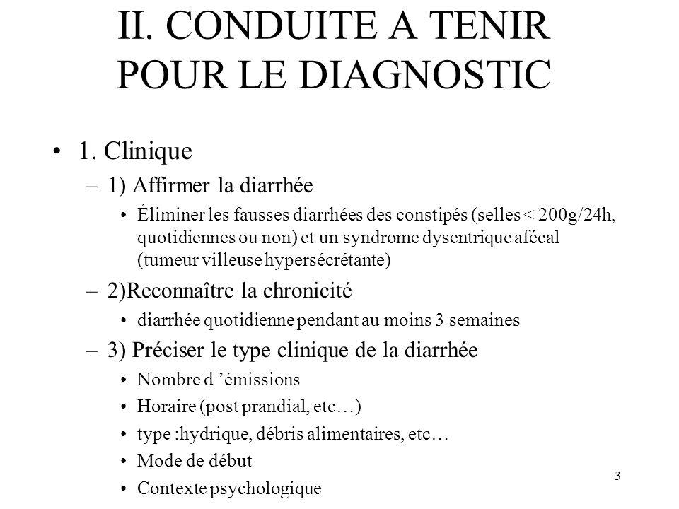 3 II. CONDUITE A TENIR POUR LE DIAGNOSTIC 1. Clinique –1) Affirmer la diarrhée Éliminer les fausses diarrhées des constipés (selles < 200g/24h, quotid