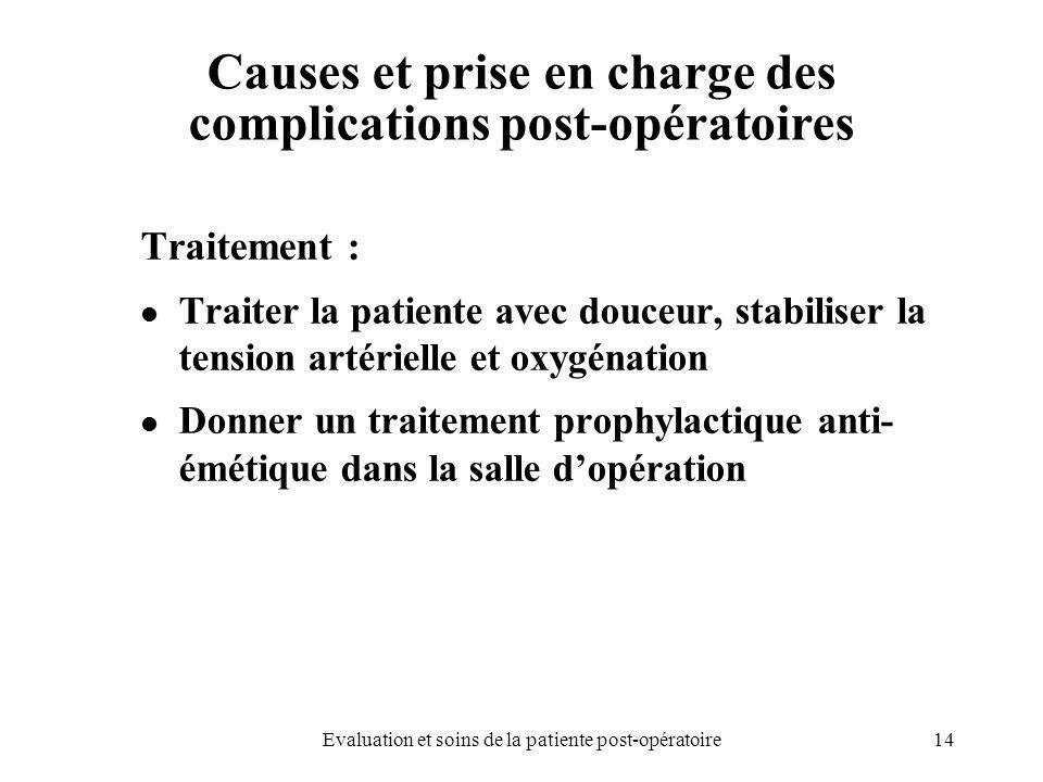 14Evaluation et soins de la patiente post-opératoire Causes et prise en charge des complications post-opératoires Traitement : Traiter la patiente ave