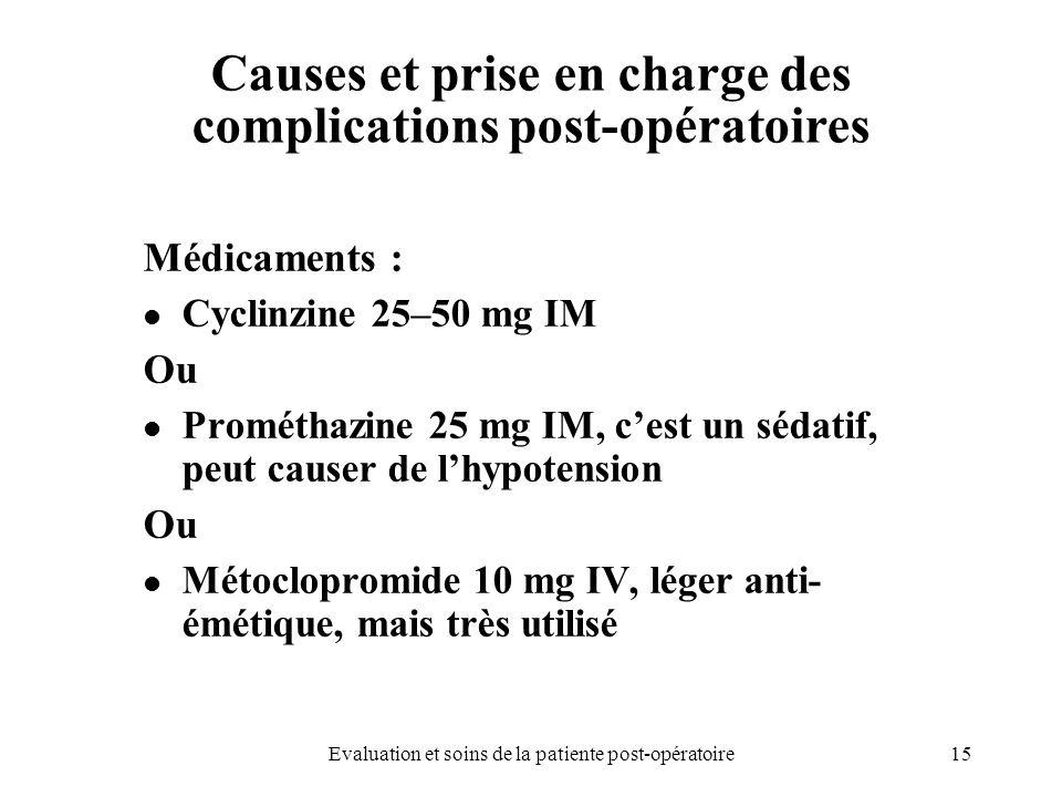 15Evaluation et soins de la patiente post-opératoire Causes et prise en charge des complications post-opératoires Médicaments : Cyclinzine 25–50 mg IM
