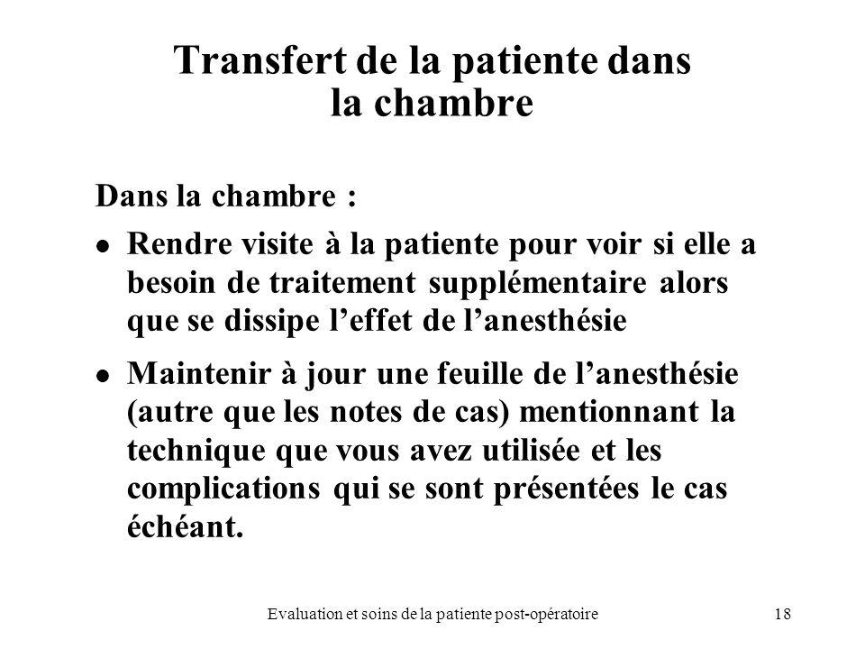 18Evaluation et soins de la patiente post-opératoire Transfert de la patiente dans la chambre Dans la chambre : Rendre visite à la patiente pour voir