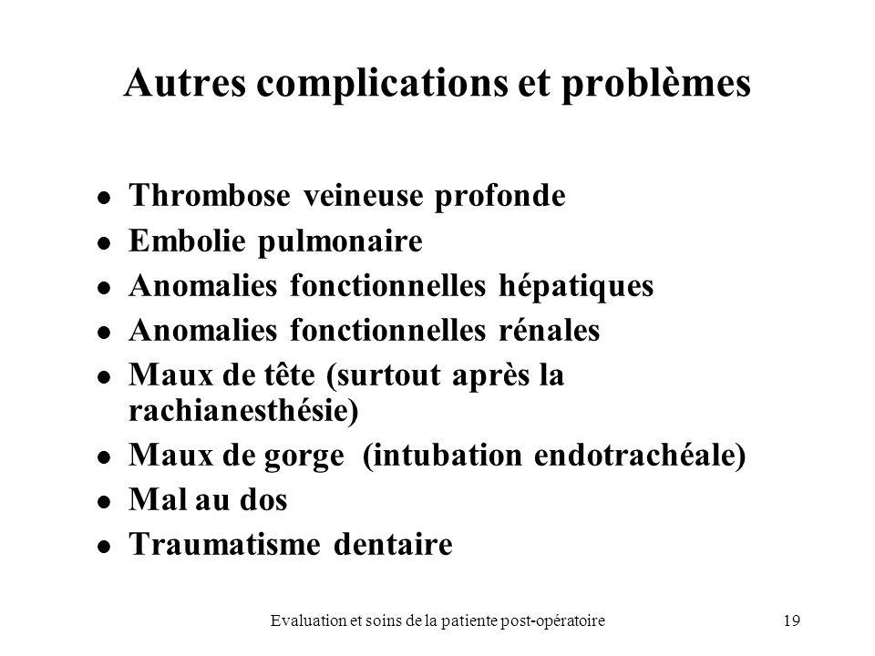 19Evaluation et soins de la patiente post-opératoire Autres complications et problèmes Thrombose veineuse profonde Embolie pulmonaire Anomalies foncti