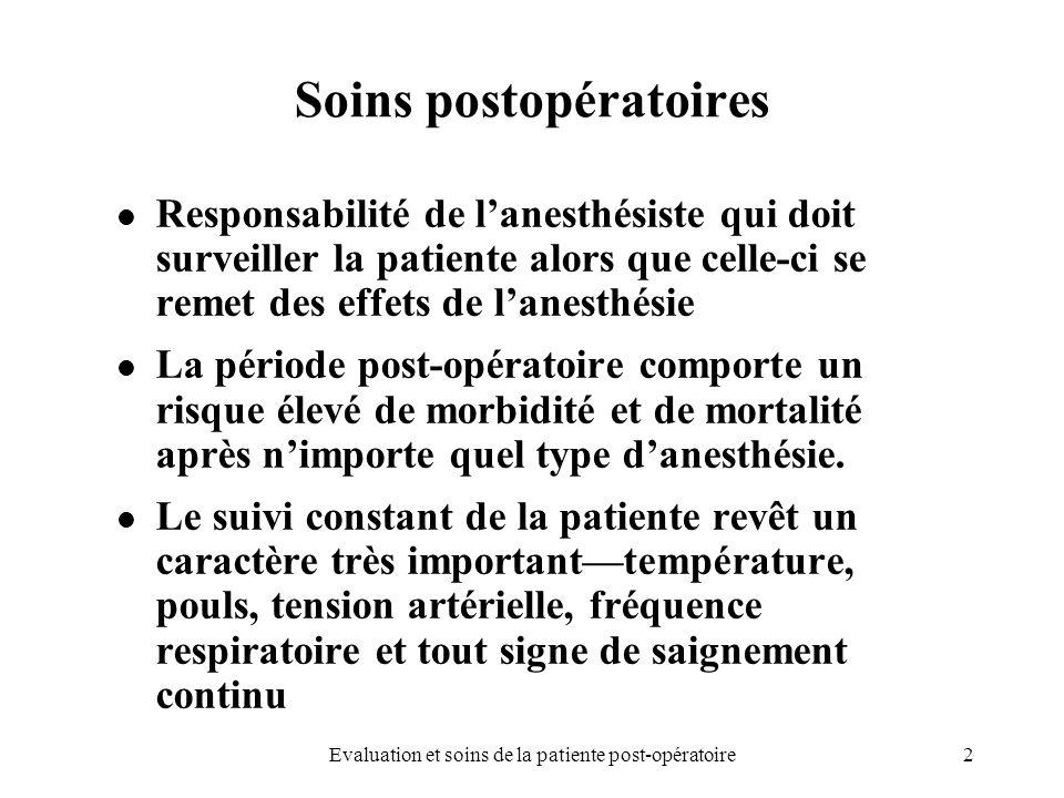 2 Soins postopératoires Responsabilité de lanesthésiste qui doit surveiller la patiente alors que celle-ci se remet des effets de lanesthésie La pério