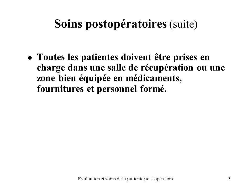 3Evaluation et soins de la patiente post-opératoire Soins postopératoires (suite) Toutes les patientes doivent être prises en charge dans une salle de