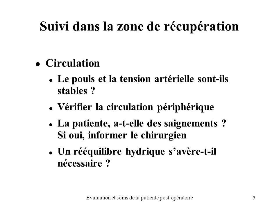 5Evaluation et soins de la patiente post-opératoire Suivi dans la zone de récupération Circulation Le pouls et la tension artérielle sont-ils stables